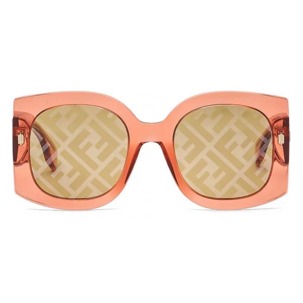 Fendi - Fendi Roma - Occhiali da Sole Squadrata Oversize - Arancione - Occhiali da Sole - Fendi Eyewear