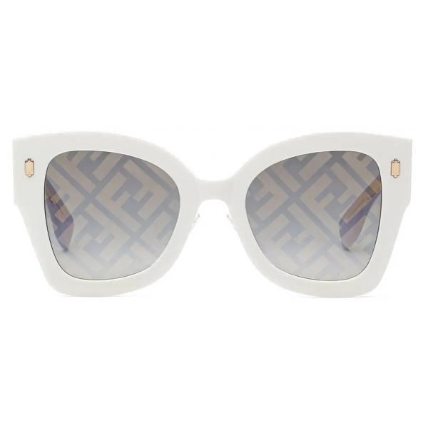 Fendi - Fendi Roma - Occhiali da Sole Squadrata - Bianco - Occhiali da Sole - Fendi Eyewear