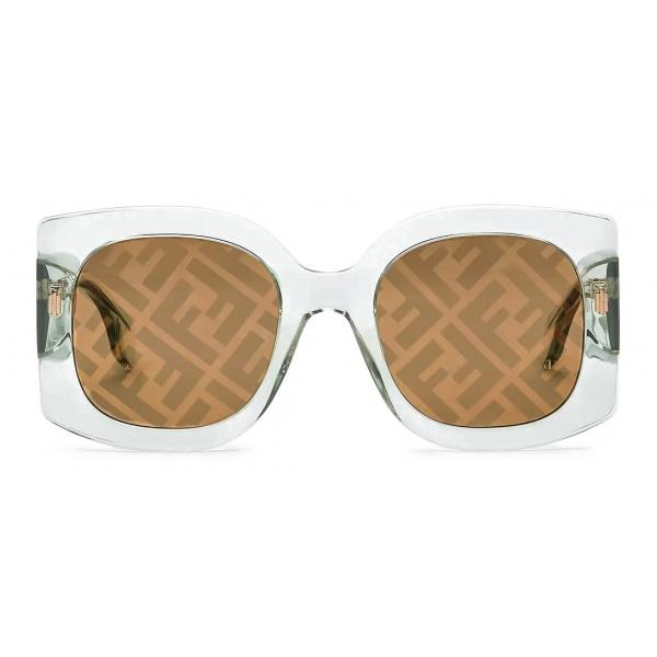 Fendi - Fendi Roma - Occhiali da Sole Squadrata Oversize - Trasparente - Occhiali da Sole - Fendi Eyewear