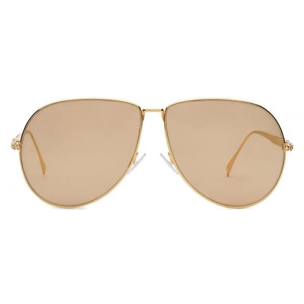 Fendi - Baguette - Occhiali da Sole Pilot Oversize - Oro - Occhiali da Sole - Fendi Eyewear