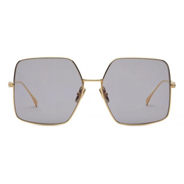 Fendi - Baguette - Occhiali da Sole Quadrata Oversize - Oro Grigio - Occhiali da Sole - Fendi Eyewear