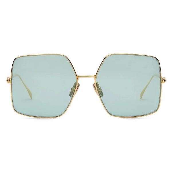 Fendi - Baguette - Occhiali da Sole Quadrata Oversize - Oro Verde Argento - Occhiali da Sole - Fendi Eyewear