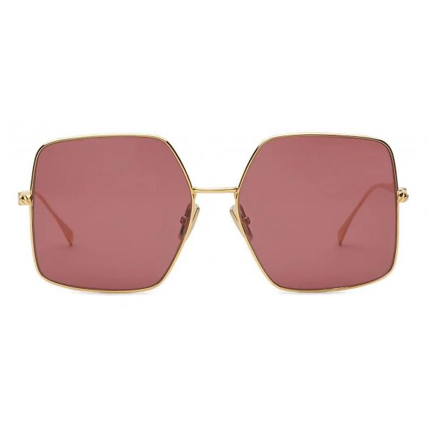 Fendi - Baguette - Occhiali da Sole Quadrata Oversize - Oro Cilliegia - Occhiali da Sole - Fendi Eyewear