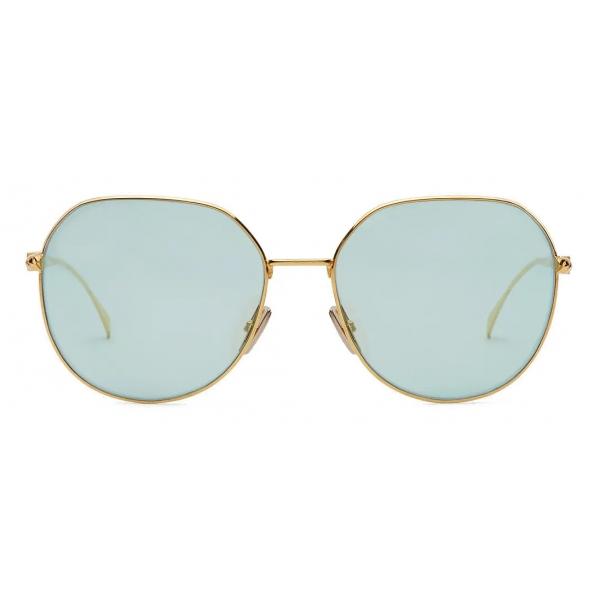 Fendi - Baguette - Occhiali da Sole Rotondi - Oro Verde - Occhiali da Sole - Fendi Eyewear