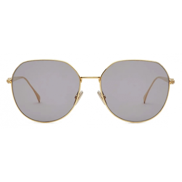 Fendi - Baguette - Occhiali da Sole Rotondi - Oro Grigio - Occhiali da Sole - Fendi Eyewear