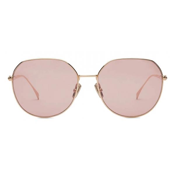 Fendi - Baguette - Occhiali da Sole Rotondi - Oro Rosa - Occhiali da Sole - Fendi Eyewear