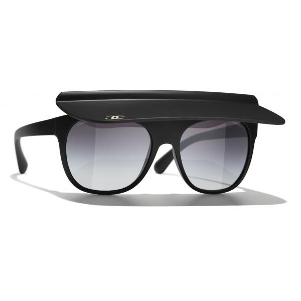 Chanel - Occhiali da Sole a Visiera - Verde Scuro Grigio - Chanel Eyewear