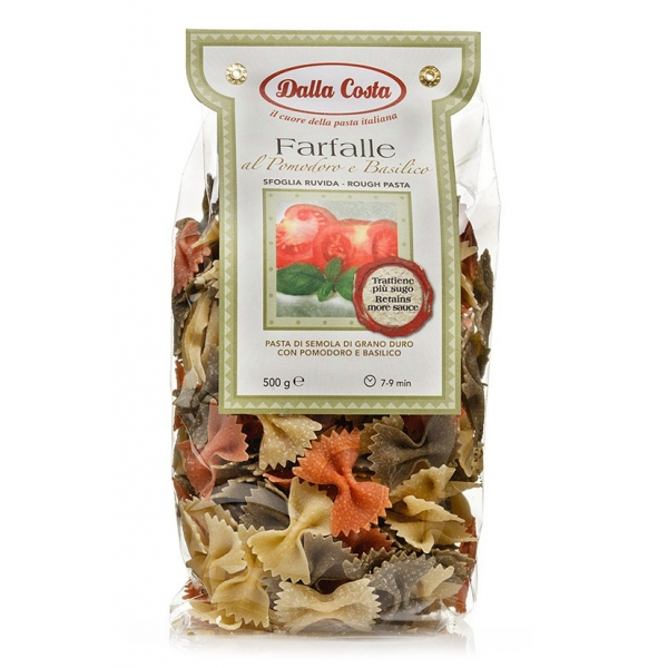 Dalla Costa - Tricolor Farfalle with Tomato and Basil - Italian Artisan Pasta