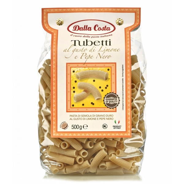 Dalla Costa - Lemon and Black Pepper Tubetti - Italian Artisan Pasta