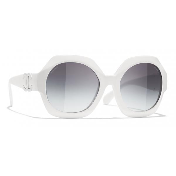 Chanel - Occhiali da Sole Rotondi - Bianco Grigio - Chanel Eyewear