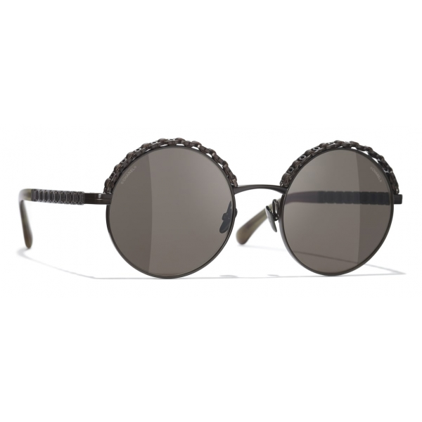 Chanel - Shield Sunglasses - White Gray - Chanel Eyewear