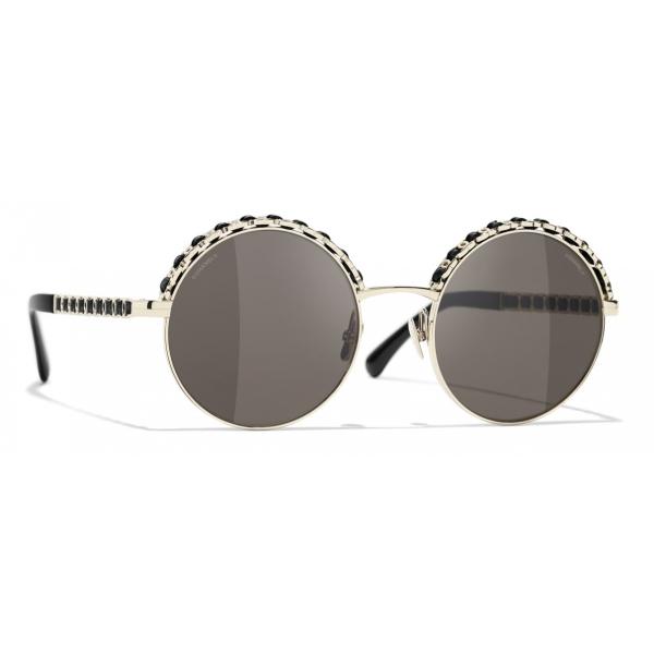 Chanel - Occhiali da Sole Rotondi - Argento Scuro Rosso - Chanel Eyewear