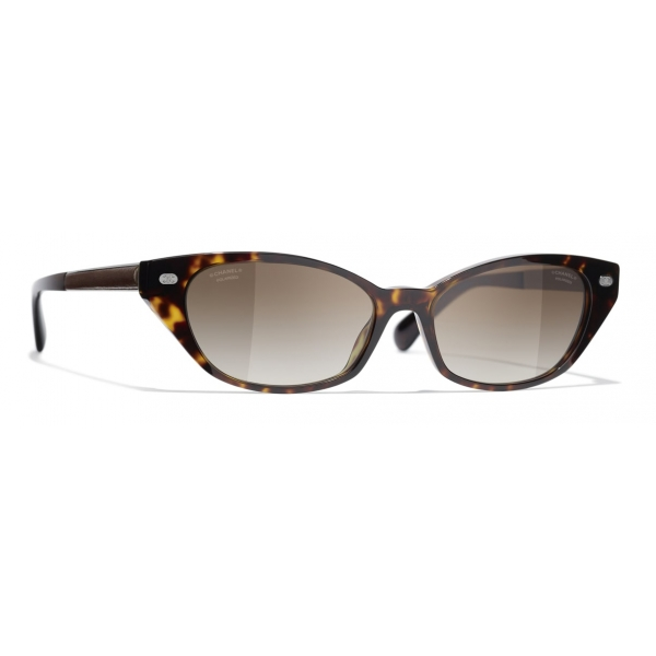 Chanel - Occhiali da Sole Rotondi - Oro Nero Marrone - Chanel Eyewear