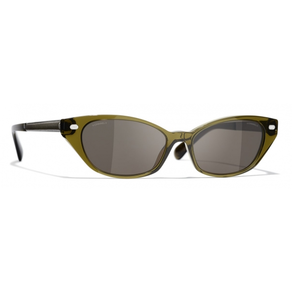 Chanel - Occhiali da Sole Cat-Eye - Nero Oro Grigio - Chanel Eyewear