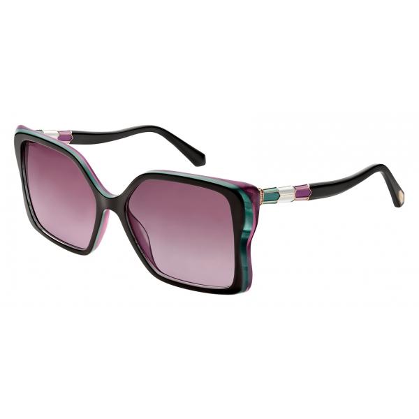 Bulgari - Serpenti - Back to Scale Acetate Butterfly Sunglasses - Black Purple - Serpenti Collection -Bulgari Eyewear