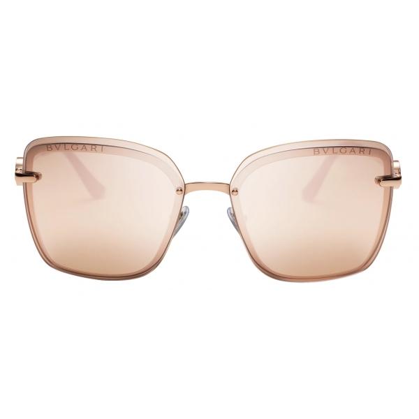 Bulgari - Bulgari Bulgari - Occhiali da Sole On-Me con Montatura Squadrata in Metallo - Oro Rosa - Bulgari Eyewear