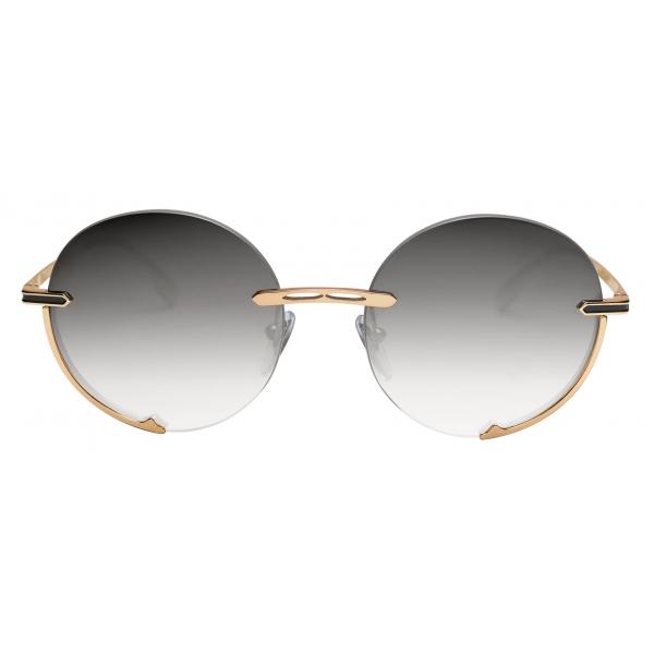 Bulgari - B.Zero1 - Occhiali da Sole Logo Embrace con Montatura Tonda in Metallo - Nero Grigio -Bulgari Eyewear