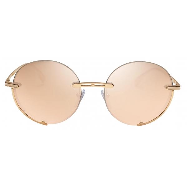 Bulgari - B.Zero1 - Occhiali da Sole Logo Embrace con Montatura Tonda in Metallo - Rosa Bronzo -Bulgari Eyewear