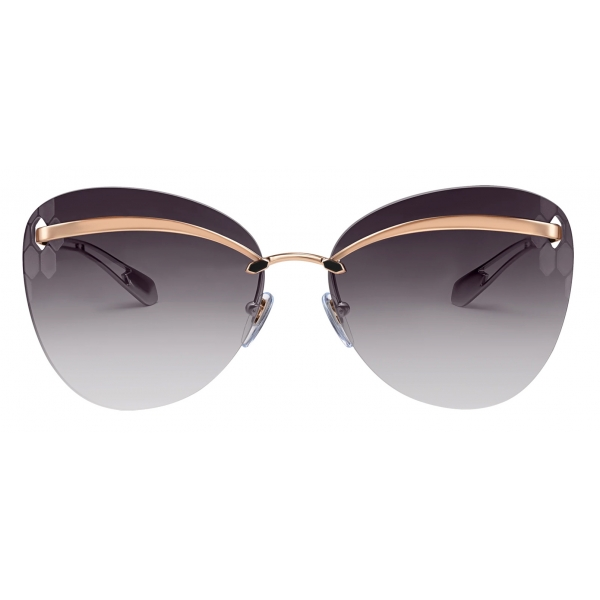 Bulgari - Serpenti - Occhiali da Sole Flyingscale con Montatura a Farfalla in Metallo - Oro Rosa Grigio -Bulgari Eyewear
