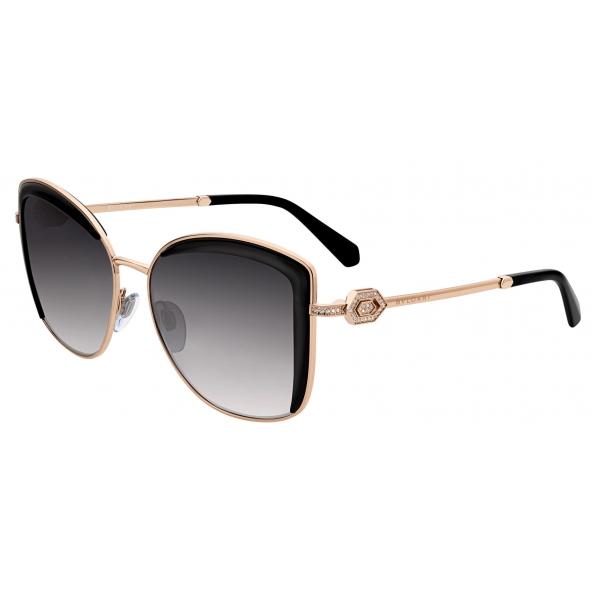 Bulgari - Squared Metal Sunglasses with Serpenti Openwork Metal Décor with Crystals - Pink Gold Black - Bulgari Eyewear