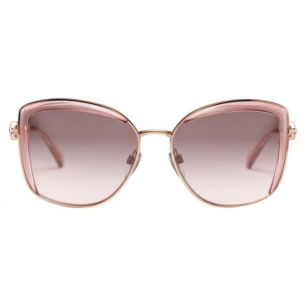 Bulgari -Occhiali da Sole Bvlgari Serpenti con Montatura Squadrata in Metallo con Cristalli - Oro Rosa - Bulgari Eyewear