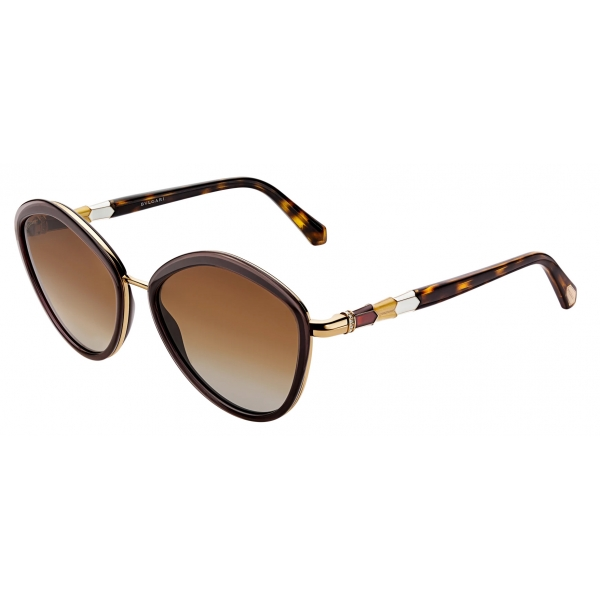 Bulgari - Bulgari Serpenti Squared Metal Sunglasses with Metal Décor with Crystals - Pink Gold -Bulgari Eyewear