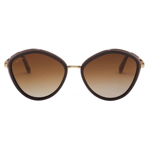Bulgari - Serpenti - Rounded Metal Sunglasses - Brown - Serpenti Collection - Sunglasses - Bulgari Eyewear