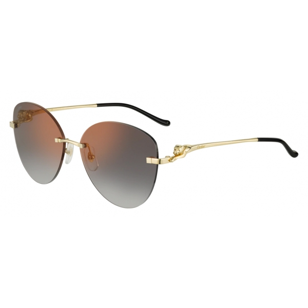 Cartier - Geometric - Smooth Golden-Finish Metal Brown Lenses with Amaranthine Flash - Panthère de Cartier-Cartier Eyewear