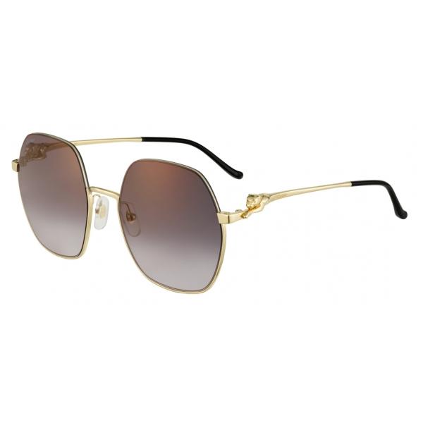 Cartier - Geometric - Smooth Golden-Finish Metal Gray Lenses with Golden Flash - Panthère de Cartier -Cartier Eyewear
