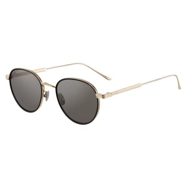 Cartier - Rotondi - Acetato Nero e Titanio Finitura Oro Lucida Lenti Grigie - C de Cartier- Occhiali da Sole - Cartier Eyewear