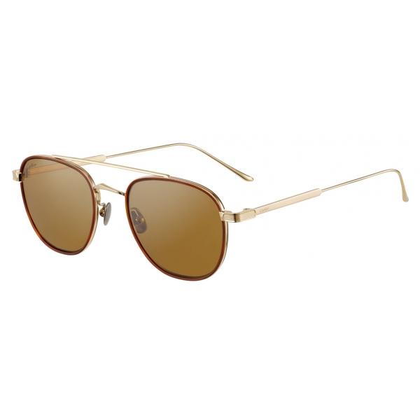 Cartier - Round - Black Composite and Smooth Golden-Finish Titanium Gray Lenses - C de Cartier- Sunglasses - Cartier Eyewear