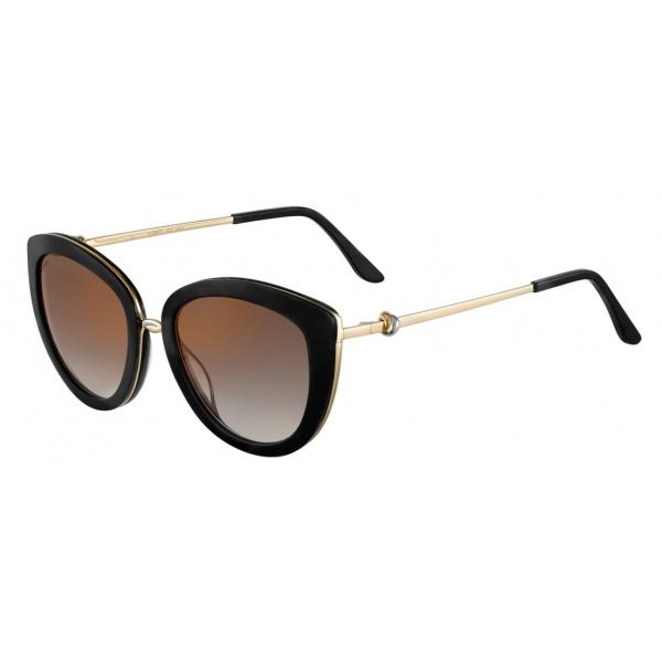 Cartier - Round - Tortoiseshell Composite and Smooth Golden-Finish Titanium Brown Lenses - C de Cartier-Cartier Eyewear