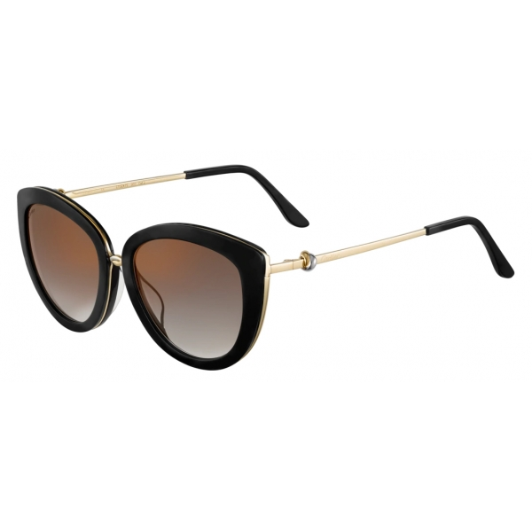 Cartier - Butterfly - Black Composite Graduated Gray Lenses with Golden Flash - Trinity Collection - Cartier Eyewear