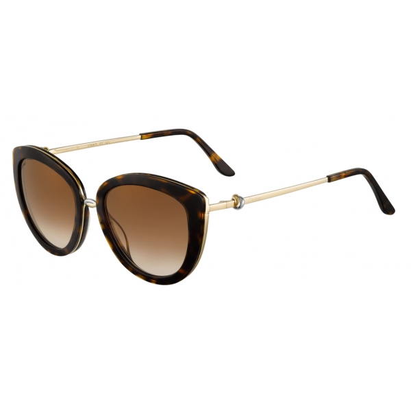 Cartier - Butterfly - Black Composite Graduated Gray Lenses with Golden Flash - Trinity Collection -Cartier Eyewear