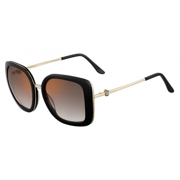 Cartier - Quadrati - Acetato Nero Lenti Grigie Sfumate con Flash Oro - Trinity Collection -Cartier Eyewear