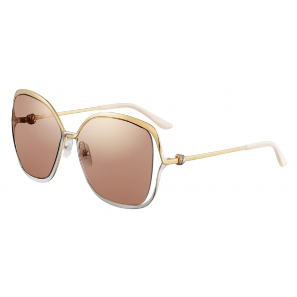 Cartier - Square - Smooth Golden-Finish and Platinum-Finish Metal Brown Lenses – Trinity-Cartier Eyewear