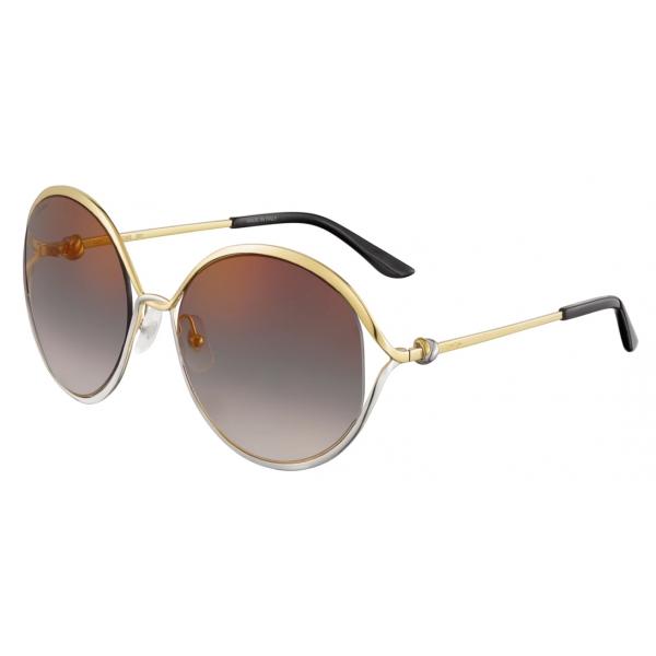 Cartier - Rotondi - Metallo Finitura Oro Lenti Grigie Sfumate con Flash Oro – Trinity- Cartier Eyewear