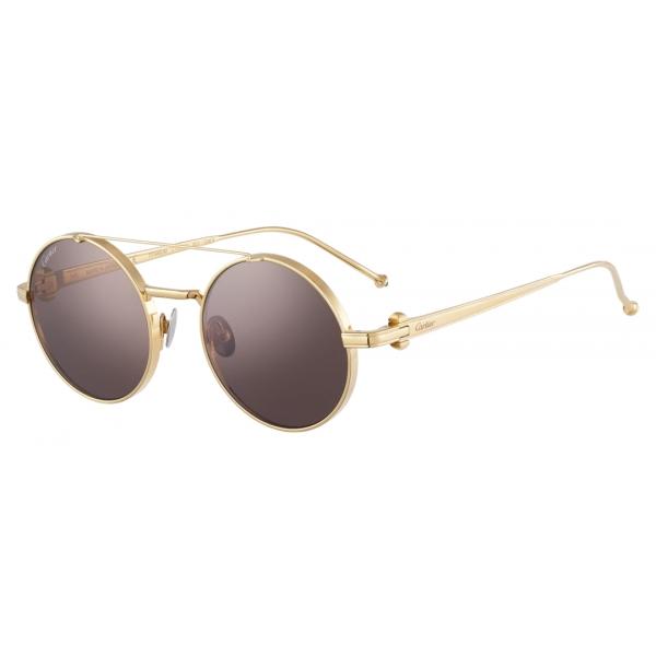 Cartier - Round - Smooth Platinum-Finish Titanium Blue Lenses - Pasha de Cartier- Sunglasses - Cartier Eyewear