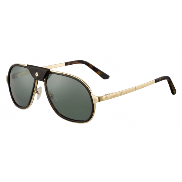Cartier - Round - Smooth Golden-Finish Titanium Gray Lenses - Pasha de Cartier- Sunglasses - Cartier Eyewear