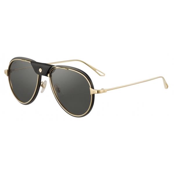 Cartier - Pilot - Smooth and Brushed Golden-Finish Metal Green Lenses - Santos de Cartier - Cartier Eyewear