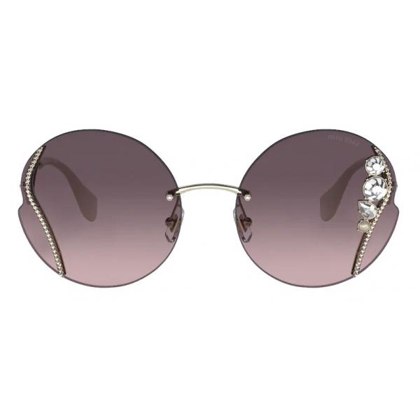 Miu Miu - Occhiali Miu Miu La Mondaine - Rotondi - Grigio Sfumato Alabastro - Occhiali da Sole - Miu Miu Eyewear