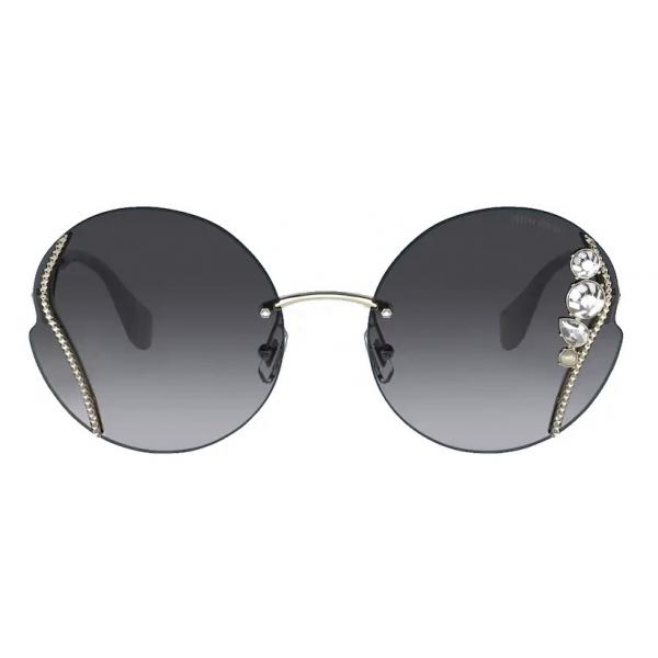 Miu Miu - Miu Miu La Mondaine Sunglasses - Round - Gray Alabaster Gradient - Sunglasses - Miu Miu Eyewear