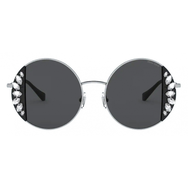 Miu Miu - Miu Miu Noir Sunglasses - Round - Cameo Beige Crystals - Sunglasses - Miu Miu Eyewear