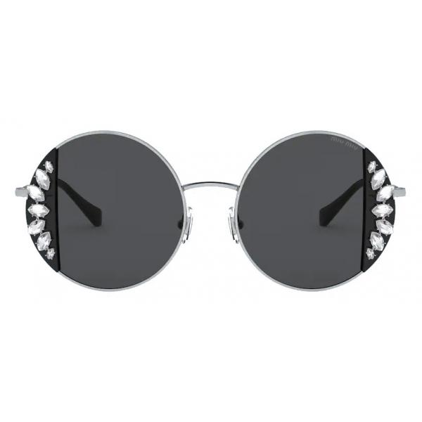 Miu Miu - Occhiali Miu Miu Noir - Rotondi - Nero Cristalli - Occhiali da Sole - Miu Miu Eyewear