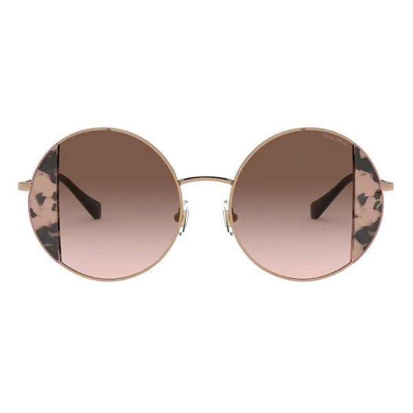 Miu Miu - Occhiali Miu Miu Noir - Rotondi - Tartaruga Cammeo Rosa - Occhiali da Sole - Miu Miu Eyewear
