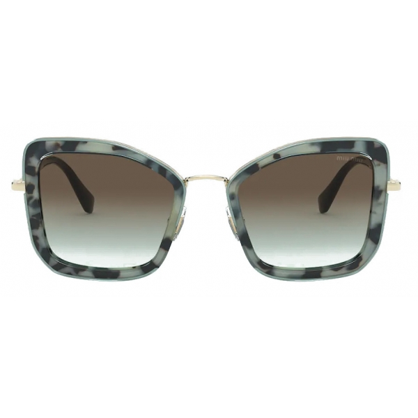 Miu Miu - Miu Miu Délice Sunglasses - Cat-Eye - Black White Tortoiseshell - Sunglasses - Miu Miu Eyewear