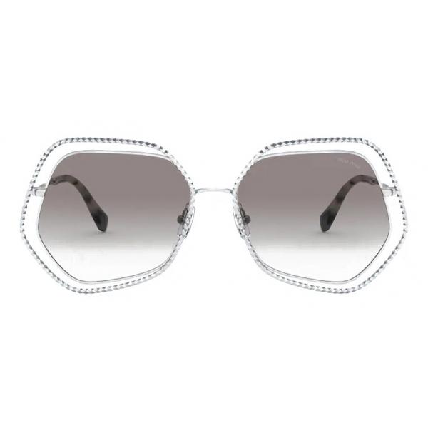 Miu Miu - Occhiali Miu Miu La Mondaine - Forma Irregolare - Argento Antracite Sfumato - Occhiali da Sole - Miu Miu Eyewear