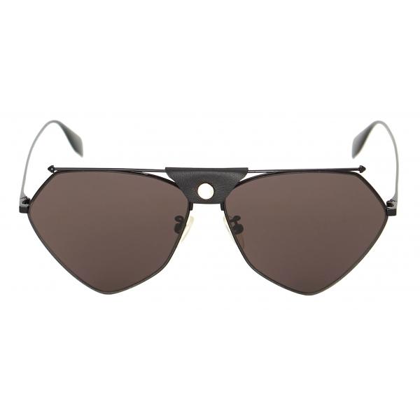 Alexander McQueen - Skull Panthos Metal Sunglasses - Gold Light Blue - Alexander McQueen Eyewear