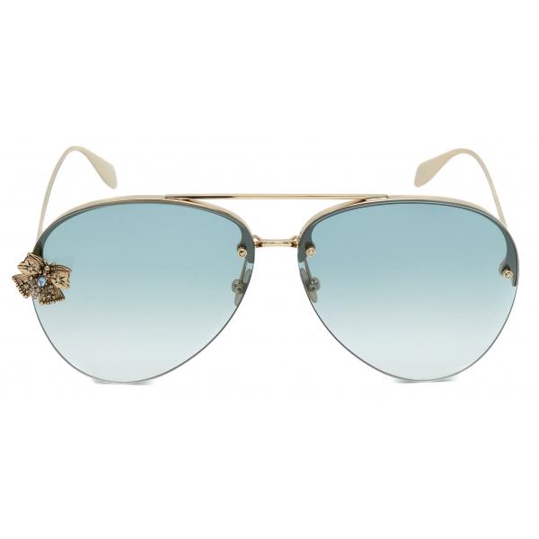Alexander McQueen - Occhiale da Sole Skull Jeweled Pilot - Argento Verde - Alexander McQueen Eyewear