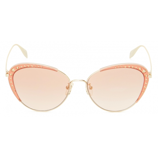 Alexander McQueen - Light Skull Round Sunglasses - Brown - Alexander McQueen Eyewear